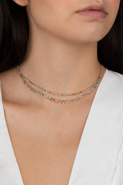 Multicolor Crystal Choker - Berness