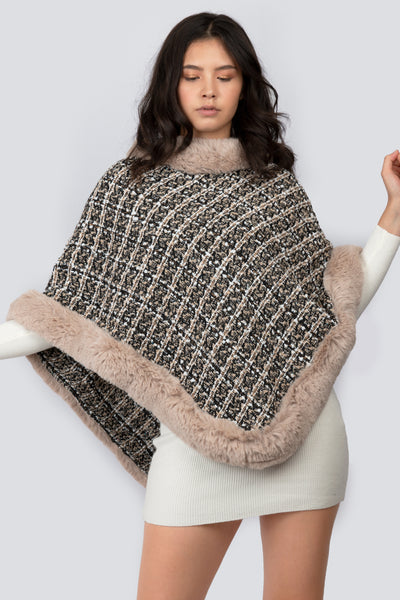 Faux Fur Detailed Poncho - Berness