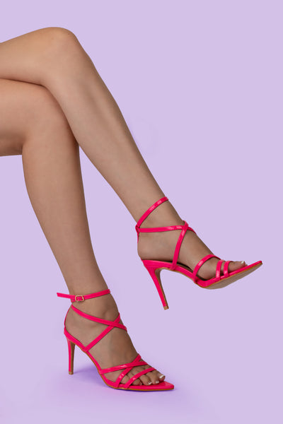 Fuchsia Pink Pointed Lace Up Heel - Berness