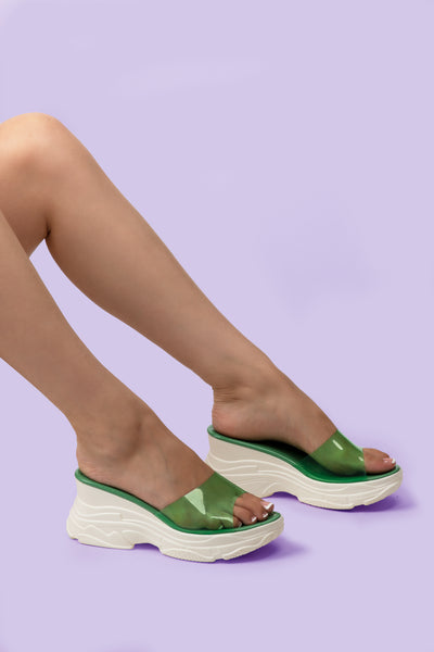 Green Chunky Sandals See-Through Strap