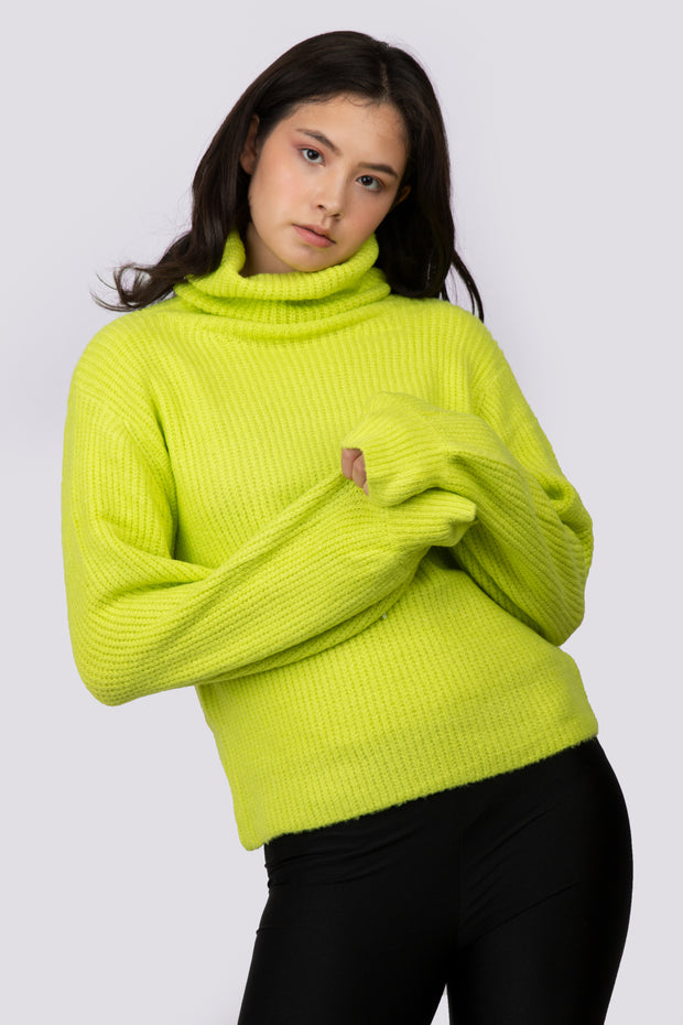 High Neck Knit Sweater - Berness