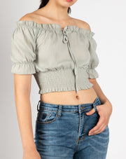 Frill Off Shoulder Shirred Crop top - Berness
