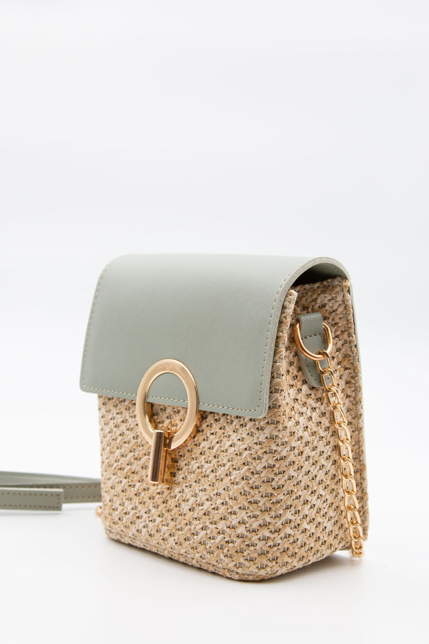 Green Crossbody Strawy Bag - Berness