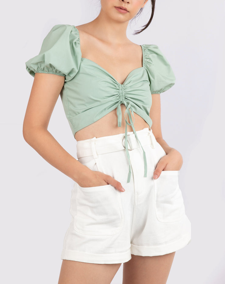Puff Sleeve Ruched Crop Top