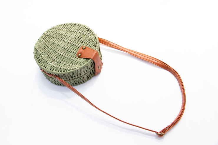 Green Straw Round Crossbody Buckle Bag - Berness