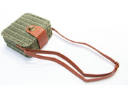 Green Straw Squared Crossbody Buckle Bag - Berness