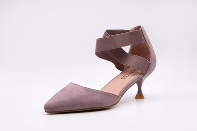 Grey Pointed Faux Suede Kitten Heels - Berness