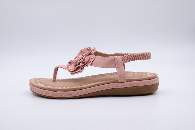 Pink Flower Detail Thong Sandals - Berness