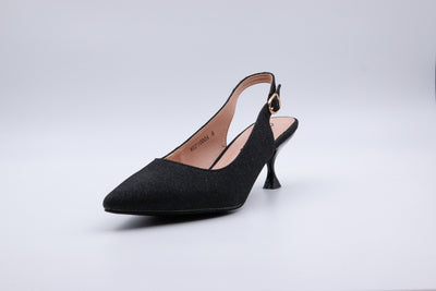 Black Metallic Ankle Strap Kitten Heel - Berness