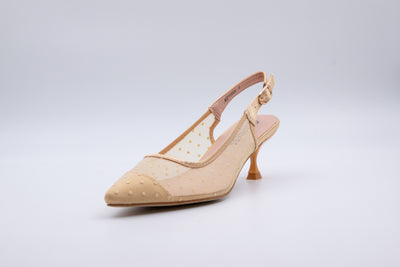 Beige Polka Dot Ankle Strap Kitten Heel - Berness