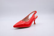 Red Vinyl Ankle Strap Kitten Heel - Berness