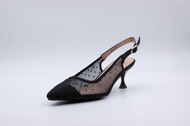 Black Polka Dot Ankle Strap Kitten Heel - Berness