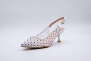 White Polka Dot Ankle Strap Kitten Heel