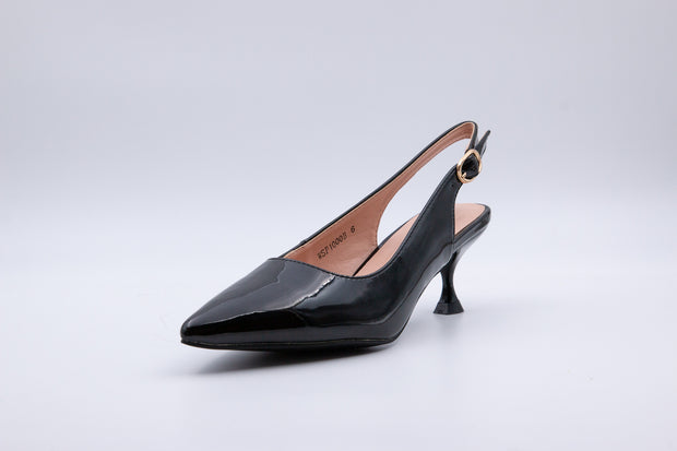 Black Vinyl Ankle Strap Kitten Heel - Berness