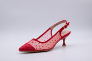 Red Polka Dot Ankle Strap Kitten Heel - Berness