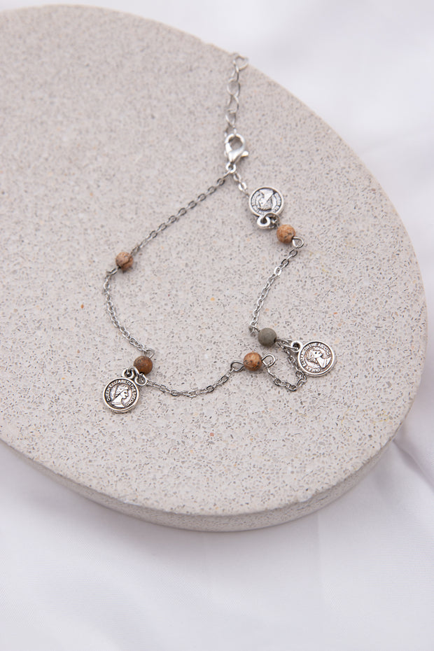 Natural Stone Coin Anklet - Berness