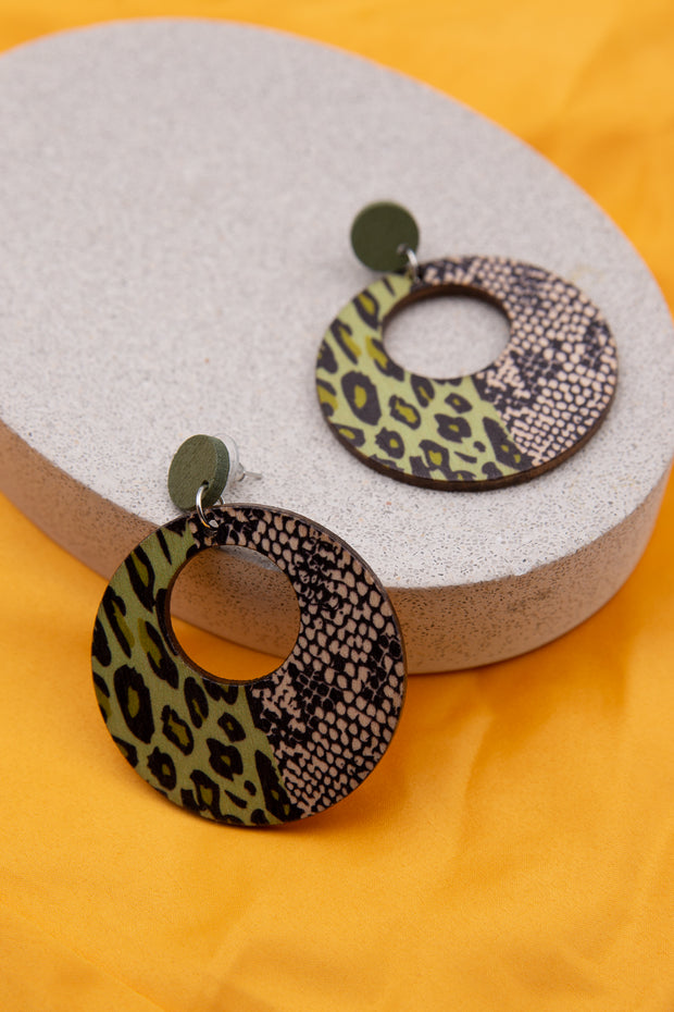 Snake Print Wooden Earring - Berness