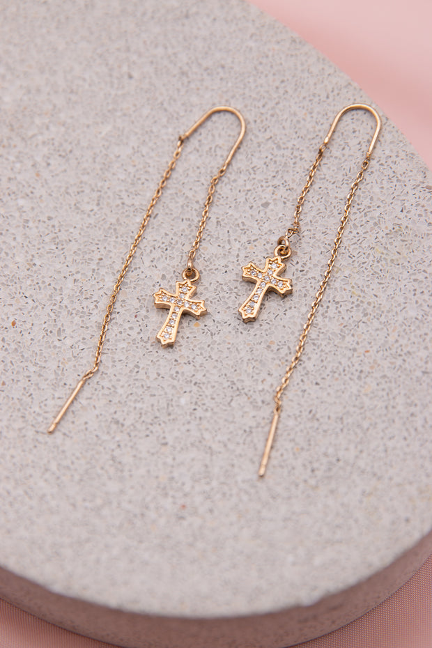 Cross Drop Earrings - Berness