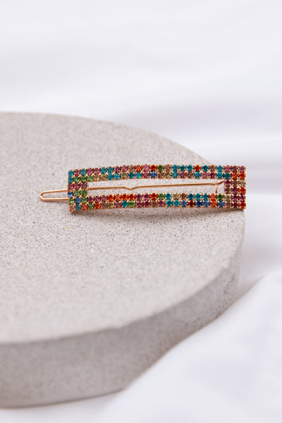 Rainbow Rectangle Hair Pin