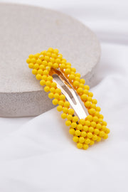 Yellow Beaded Embellished Hair Clip