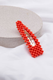 Red Beaded Embellished Hair Clip