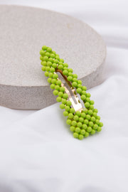 Green Beaded Embellished Hair Clip - Berness