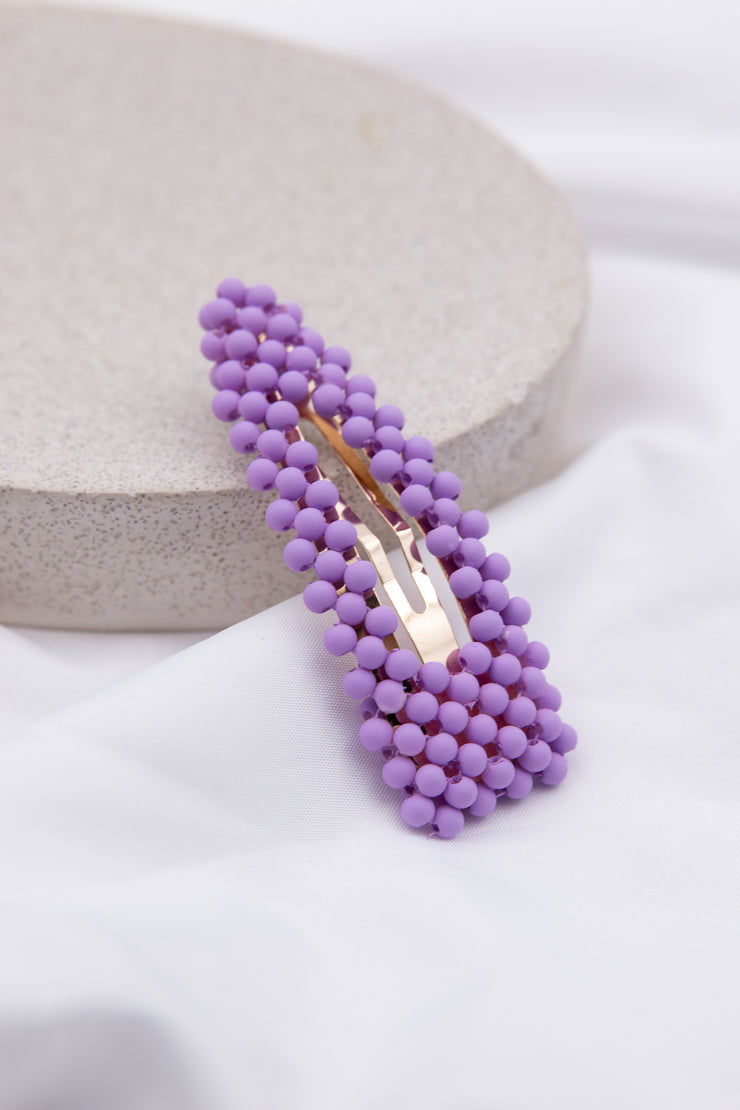 Purple Beaded Embellished Hair Clip