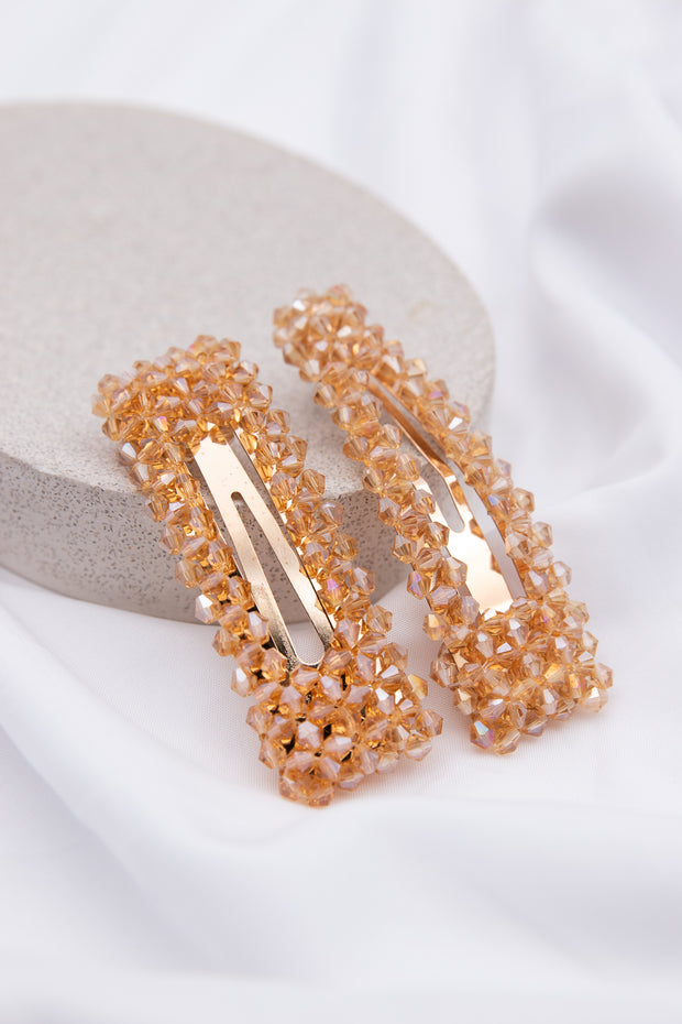 Gold Crystal Embellished Hair Clip - Berness