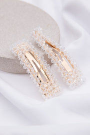 Clear Crystal Embellished Hair Clip - Berness