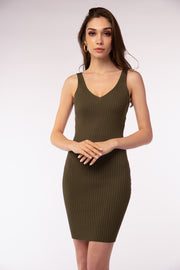 Ribbed Basic Midi Dress - Berness