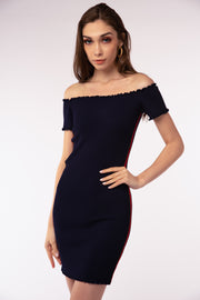 Ribbed Off The Shoulder Dress - Berness