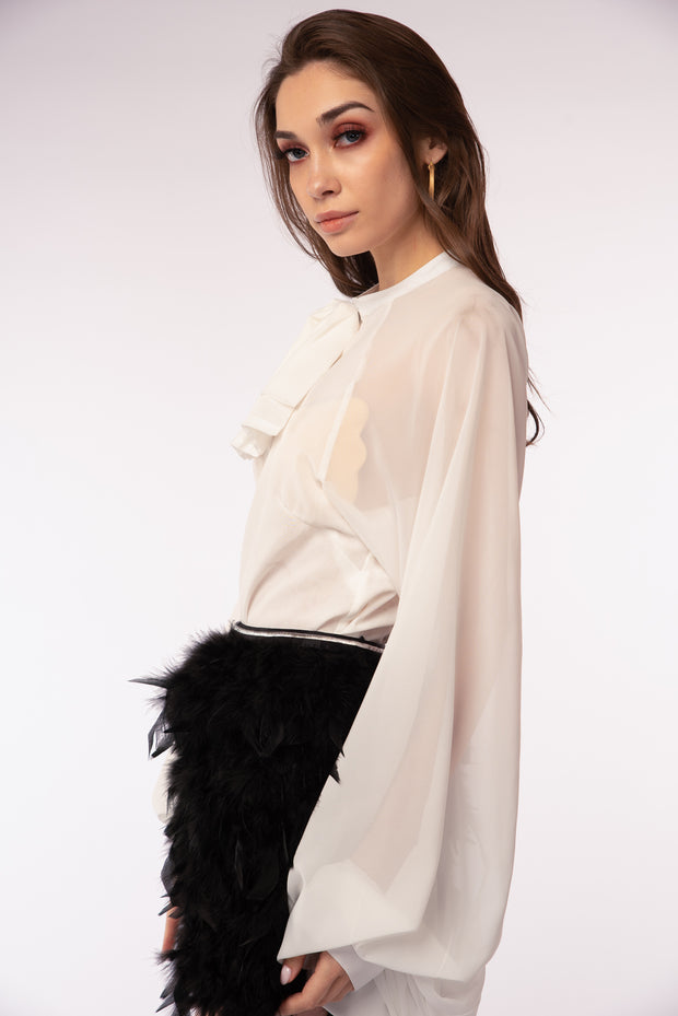 Wide Puff Sleeve Mesh Blouse - Berness