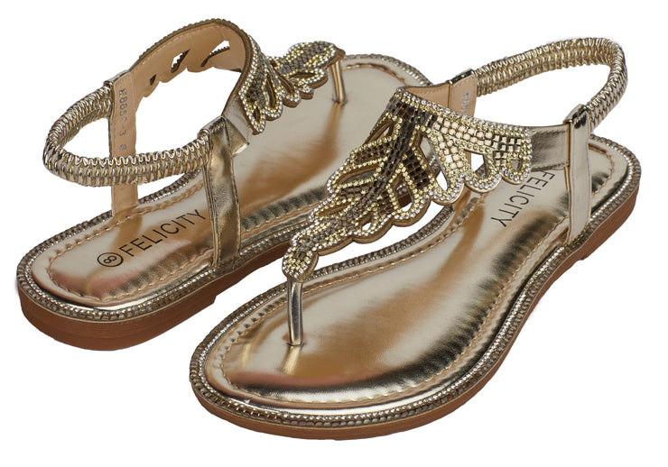 Gold Sparkly Ankle Strap Sandals - Berness