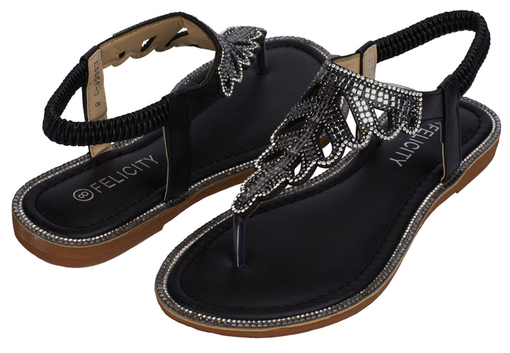 Black Sparkly Ankle Strap Sandals - Berness