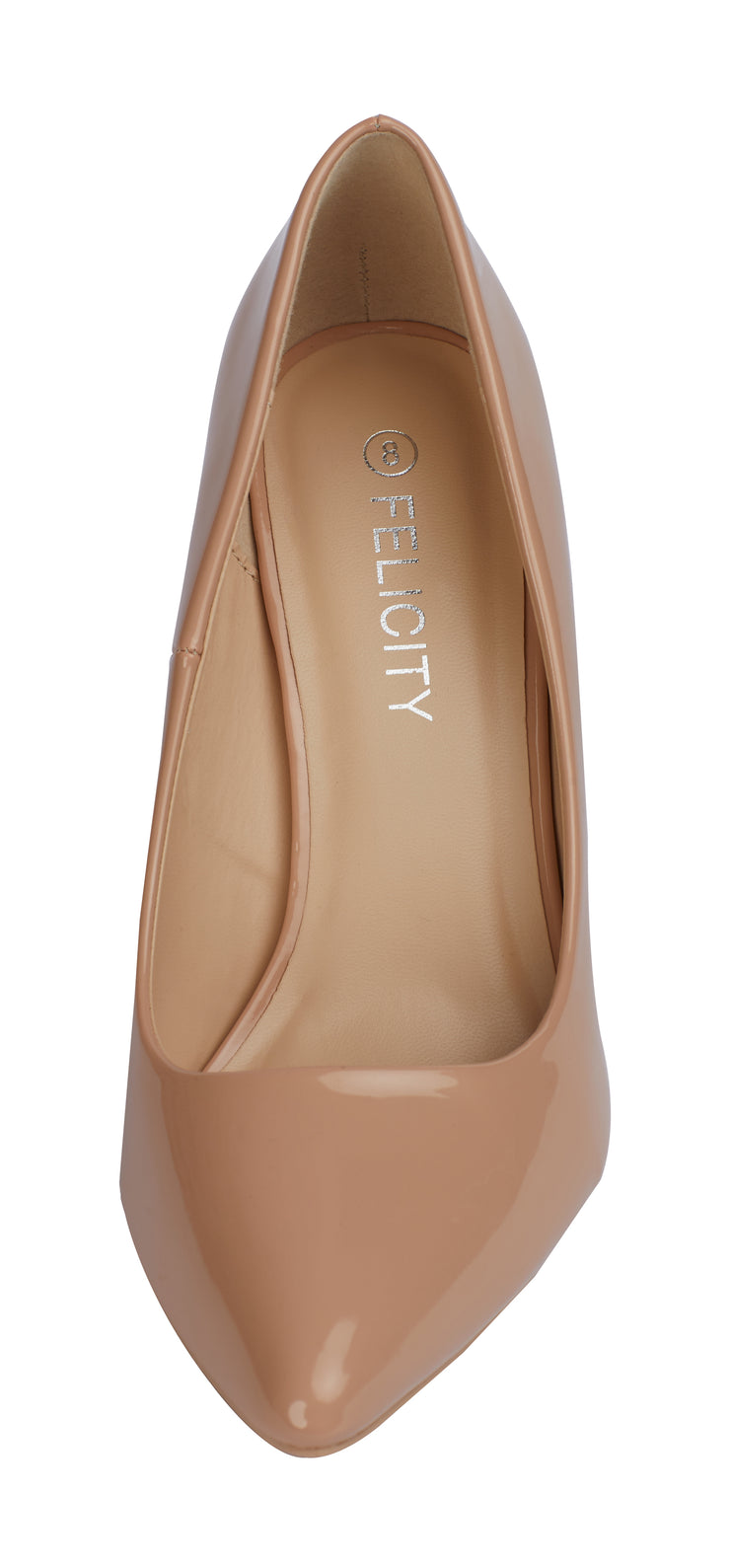 Nude Vinyl Pointed Toe Pumps Stilettos Heel Shoes - Berness