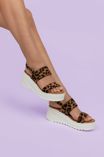 Leopard Ankle Strap Sandals - Berness