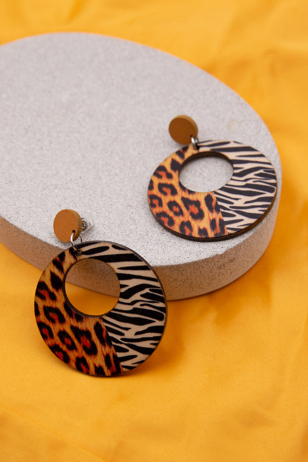 Leopard Print Wooden Earring - Berness
