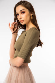 Wide Neck Ribbed Top - Berness