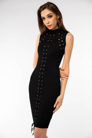 High Neck Lace Detailed Midi Dress - Berness