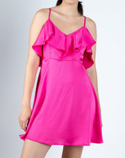 Satin Silk Ruffle Dress - Berness