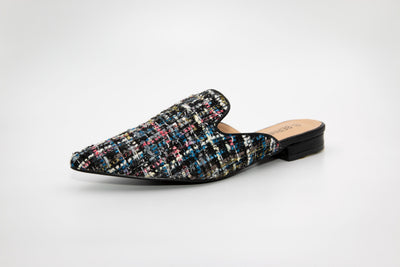Black Pointed Tweed Loafers - Berness