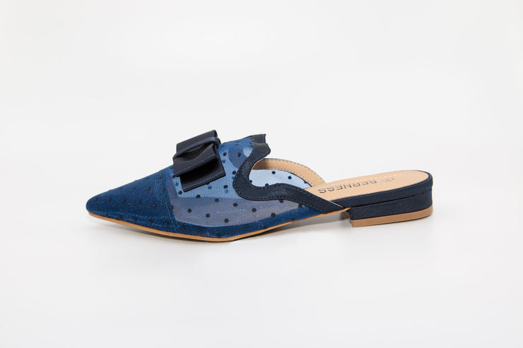 Navy Pointed Mesh Loafers - Berness
