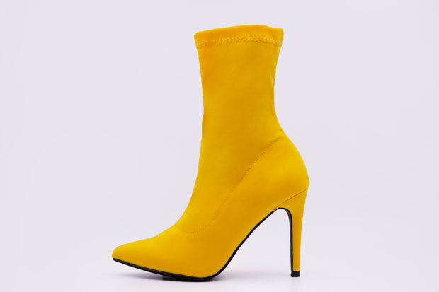 Yellow Solid Point Toe Ankle Boots