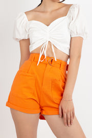 High Waist Belted Shorts - Berness