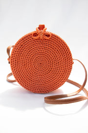 Orange Straw Crossbody Bag - Berness