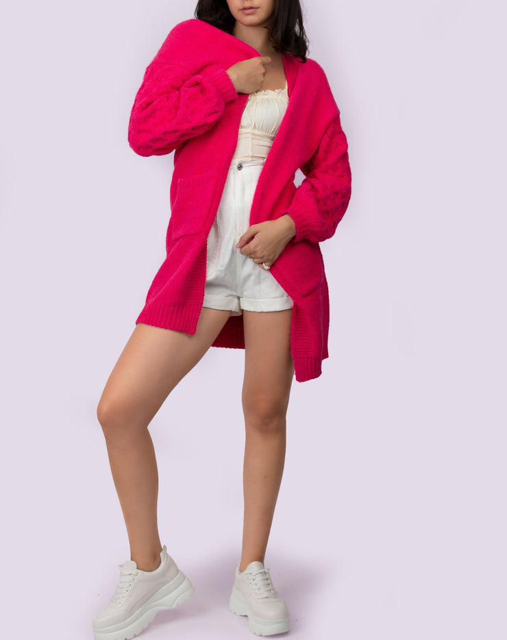 Long Fuchsia Knit Cardigan - Berness