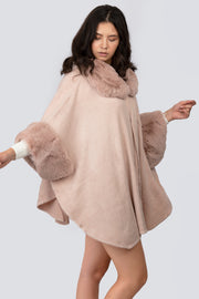 Faux Fur Sleeve Cape - Berness