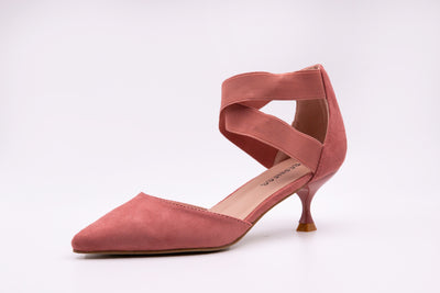 Pink Pointed Faux Suede Kitten Heels - Berness