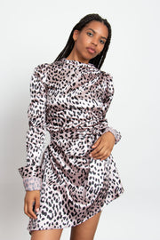 Leopard Print Satin Dress - Berness