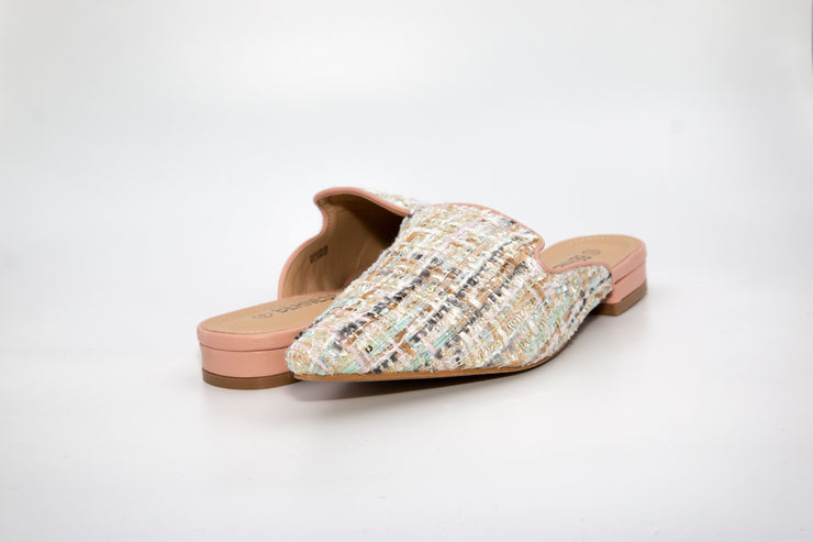 Pink Pointed Tweed Loafers - Berness
